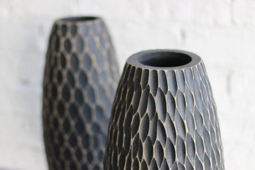 A couple artisan crafted vases.