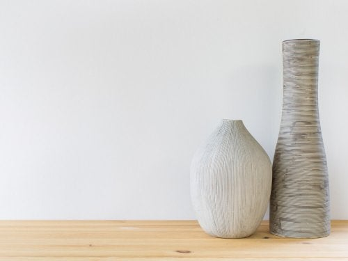 A couple wooden vases.