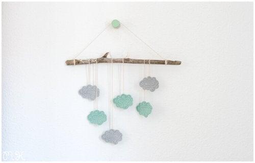 A crocheted hanger.