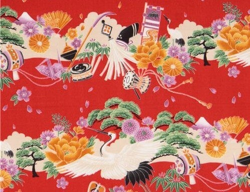 An Asian fabric with a crane motif.