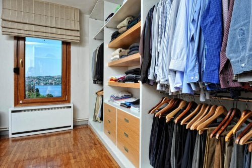 A men's closet with a view.