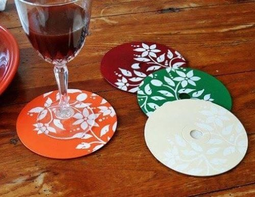 A set of CD coasters.