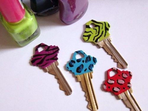 Keys with animal prints.