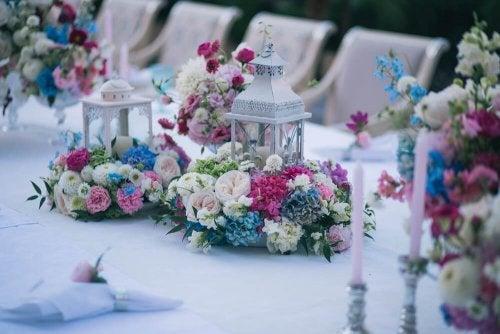 Boho chic table arrangements.