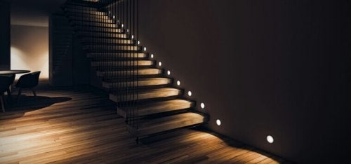 A staircase with LED lights.