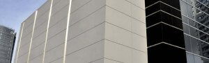 Fiber cement siding on a large building.