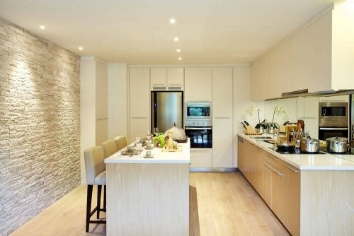 A kitchen using lighting for extra texture.