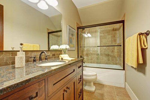 A bathroom in neutral colors.