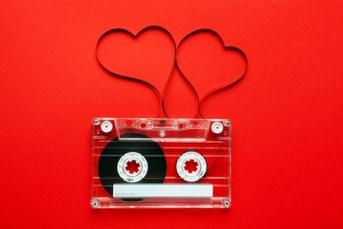 A cassette tape arranged as hearts.