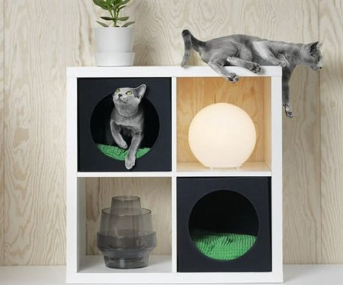 A cat condo, part of IKEA's pet collection.