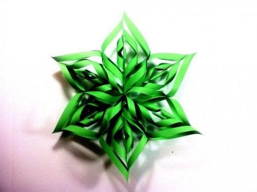 A paper snowflake.