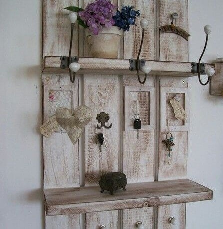 A coat rack with shelves.