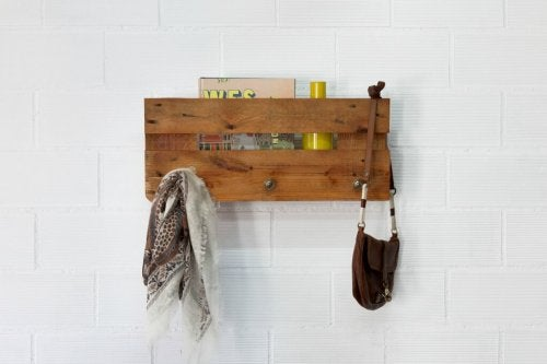 A wooden coat rack.