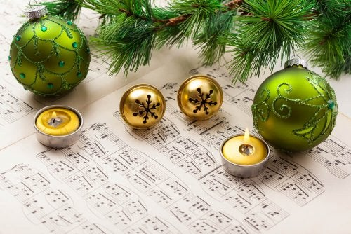 Christmas music and ornaments.