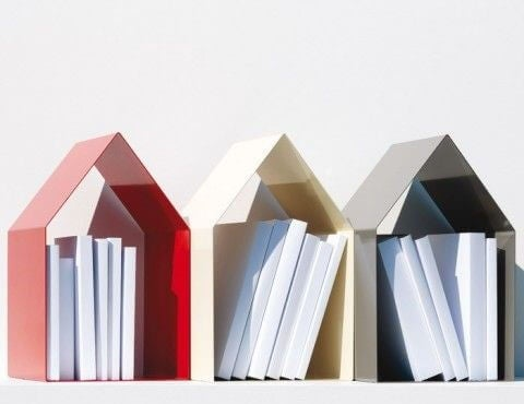 House shaped bookshelves.