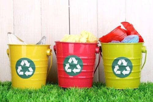 Three recycling buckets.
