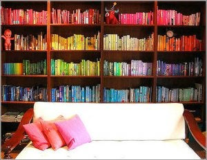 Color-coordinated libraries.