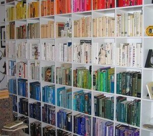 Color-coordinated libraries - compartment shelves.