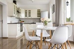 Simple white kitchen decor.