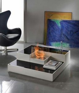 Minimalist living room fireplace.