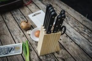Wooden knife block.