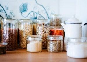 Glass storage jars.