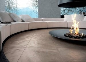 Circular tabletop fireplaces.