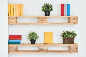 Rustic-style floating bookshelves.