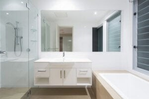 Mirrors can make a small bathroom look bigger.