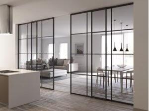 Glass sliding doors.