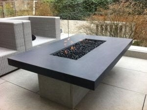 A modern tabletop fire pit.