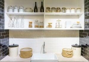 Modern white cupboards.