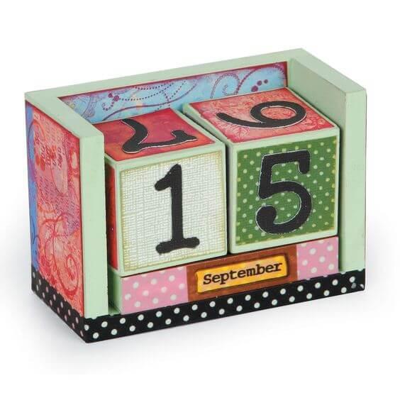 wooden calendar cubes