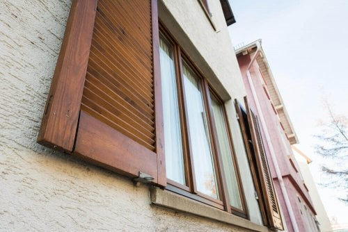 Shutters made of wood.