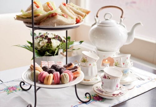 Hors d'oeuvres and tea service are part of a house that's always ready for visitors.