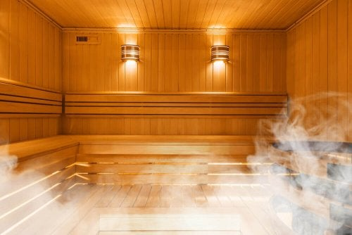 home sauna wooden boards