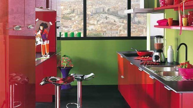 A red and green kitchen