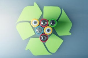 Recycling batteries.