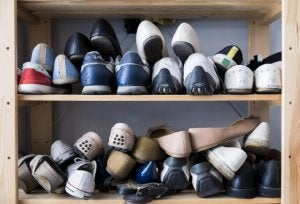 Disorganized shoe rack.
