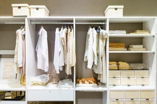 An organized dressing room.