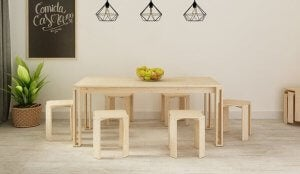 A wooden table and chairs.