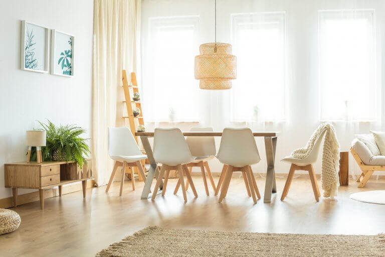 The living room in the home can use extra lighting and lamps