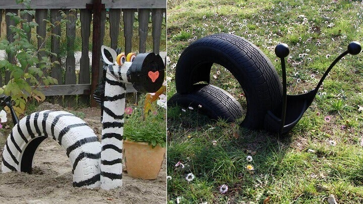 old car tires animals