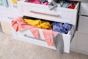 Disorganized drawers.