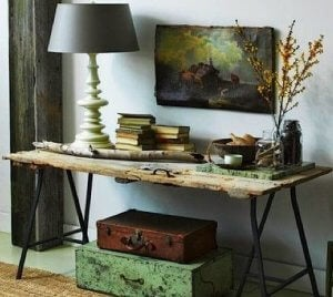Repurposing an old door: entrance hall trestle table.