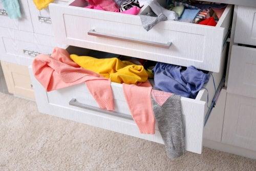Unorganized drawers.