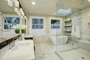 Marble bathrooms.