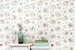 Floral print wallpaper.