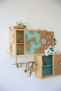 DIY wooden cabinets.