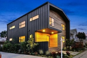 Metal and wooden facade.